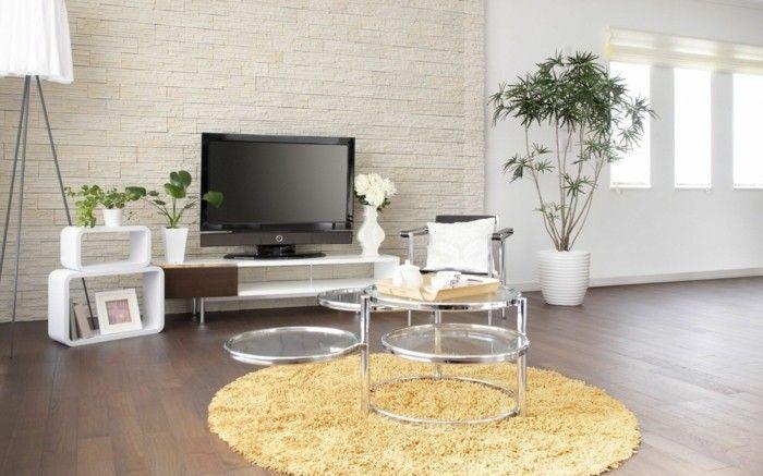 Wohnideen Wohnzimmer Fernseher wohnideen wohnzimmer runder teppich fernseher pflanzen вітальня