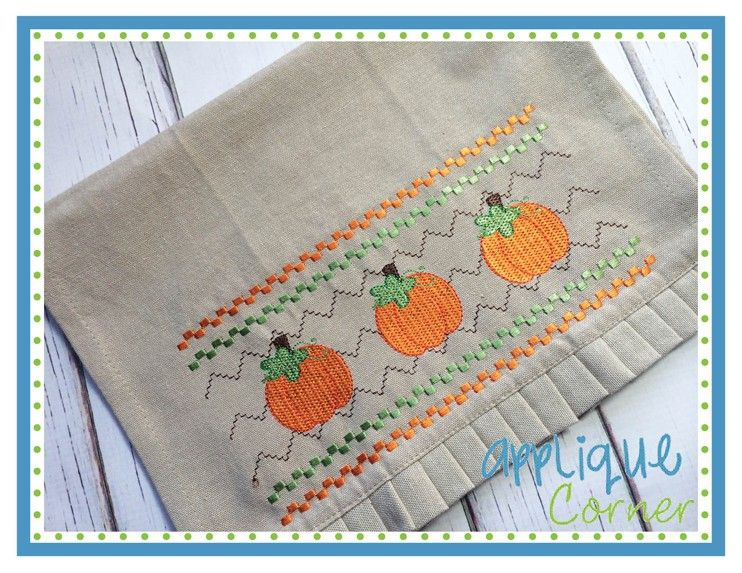 Applique corner applique design faux smocked pumpkin embroidery