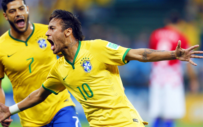 Download wallpapers 4k, Neymar, Brazilian footballers