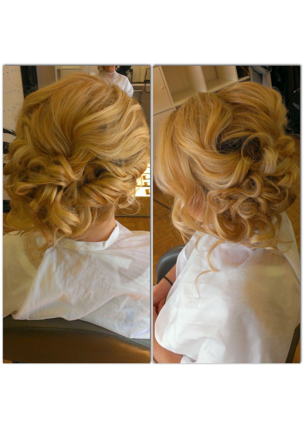 Bridal hair wedding hair side swept side bun messy updo updo