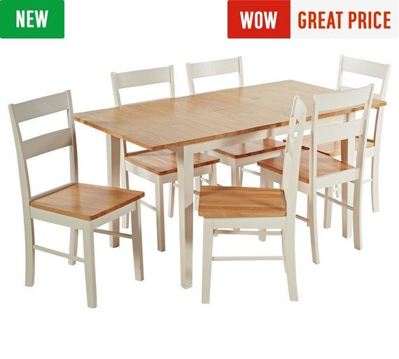 Buy Collection Chicago Ext Solid Wood Dining Table & 6 Chairs at