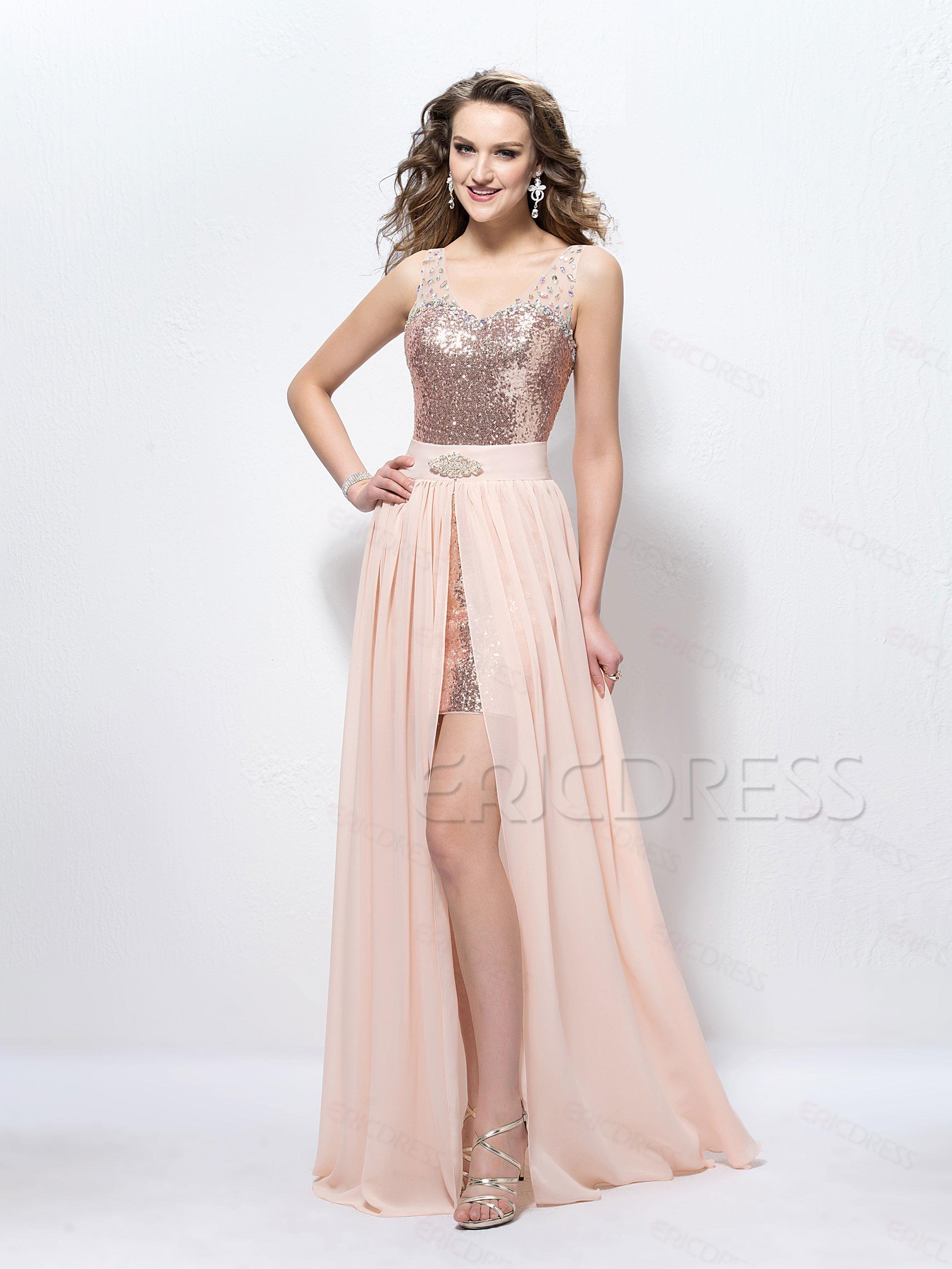 Fashion straps beading sequins sheath prom dress cabelo é
