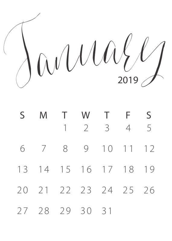 A4 January 2019 Calendar | January calendar, Calendar ...
