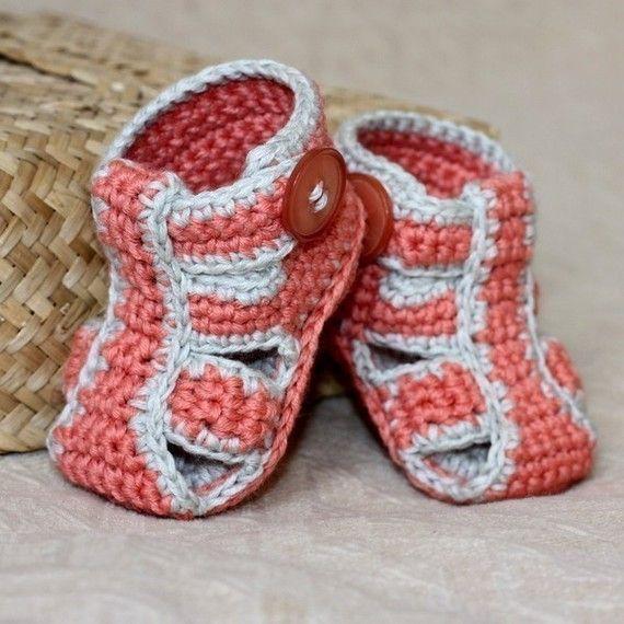 Crochet PATTERN - Double Sole Baby Sandals   Tejido, Bebe y Zapatos
