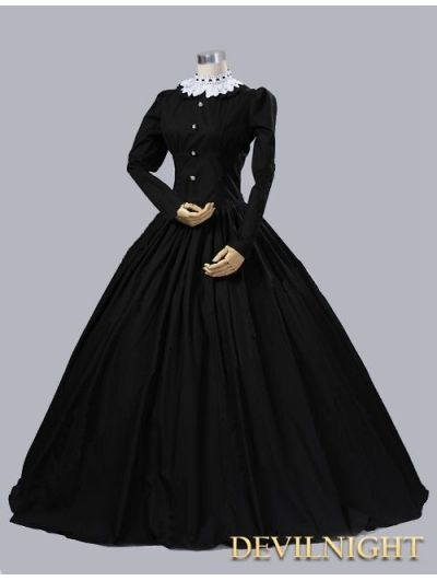 Black Cotton Gothic Victorian Queen Victoria Day C