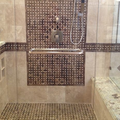Cool Mosaic Inlay With Border In This Shower Stall