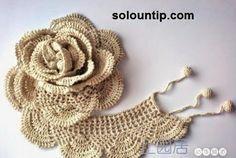 Una rosa 3D tejida al crochet - con diagrama