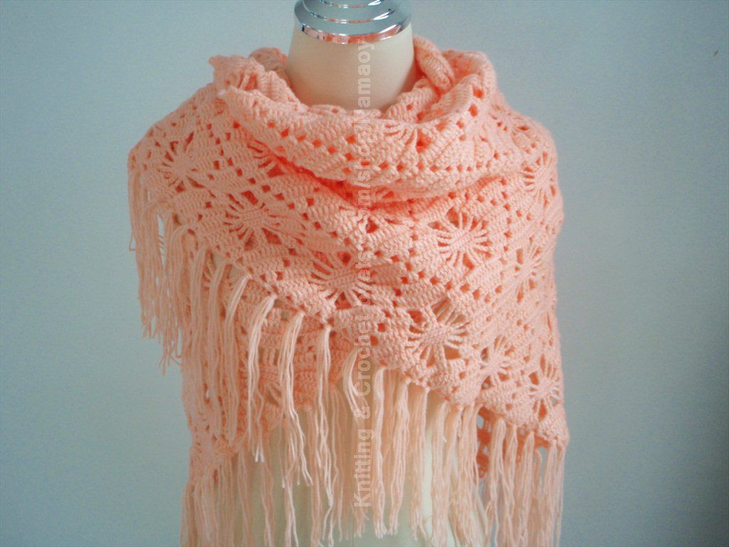 hand crochet shawl wrap in soft orange and can keep you warm made by a ...
