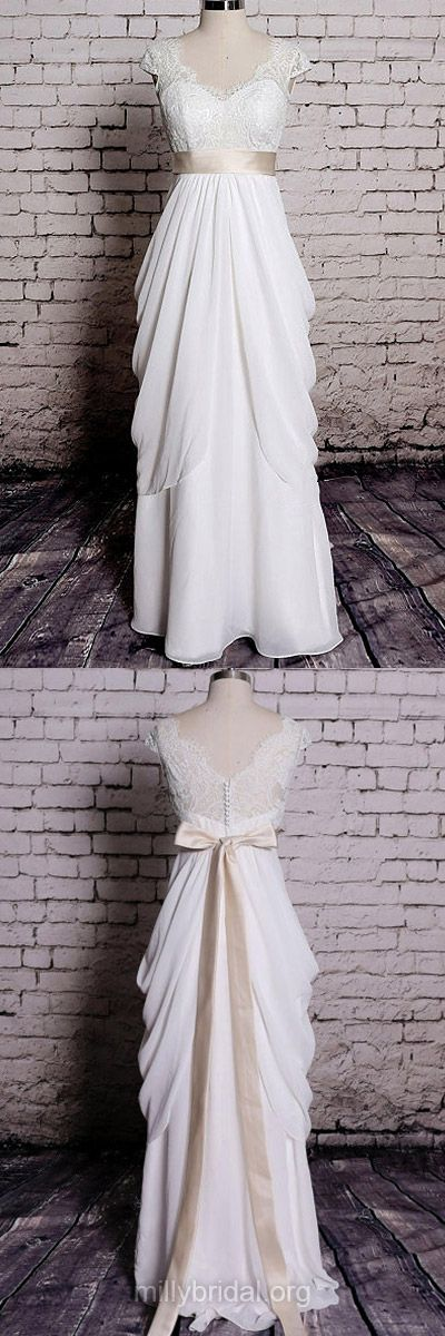 Lace Wedding Dresses, Ivory Bridal Dresses, V-neck Wedding Dresses, Sheath/Column Chiffon With Sashes/Ribbons Wedding Gowns