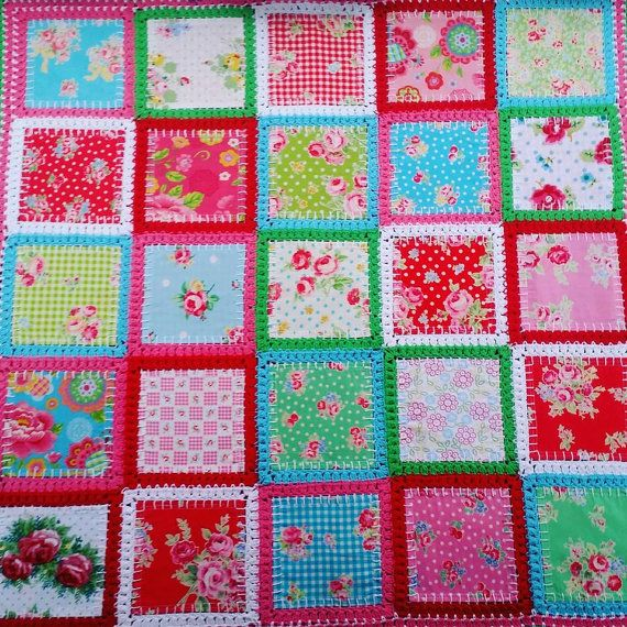Patchwork crochet, fabric fusion, blend quilt, blanket, baby ...