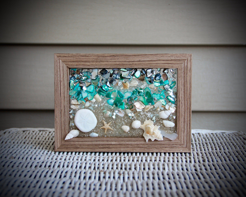 Beach Glass Wall Art Seashell Art For Beach Decor Small Blue Wall Hanging Nautical Decor For Bathroom Bathroom Decor Shell Art For Home In 2020 Glass Wall Art Seashell Art Glass Wall