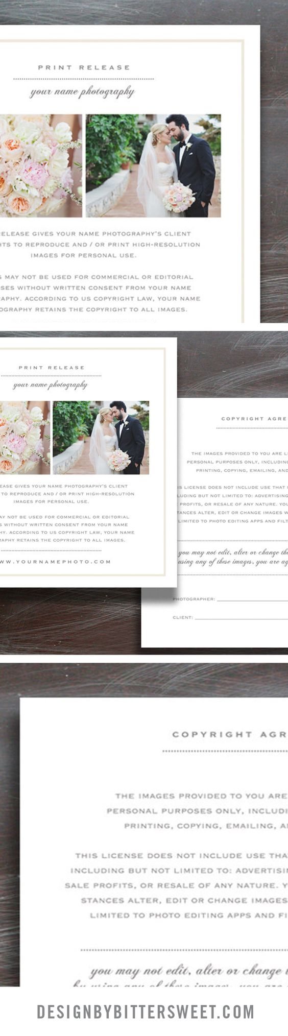 Wedding Photographer Licensing Forms  Print Release Template