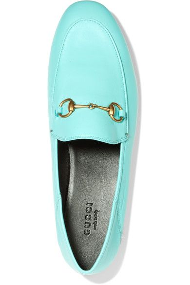 cf68a56e5f6 Gucci - Horsebit-detailed Collapsible-heel Leather Loafers - Light blue