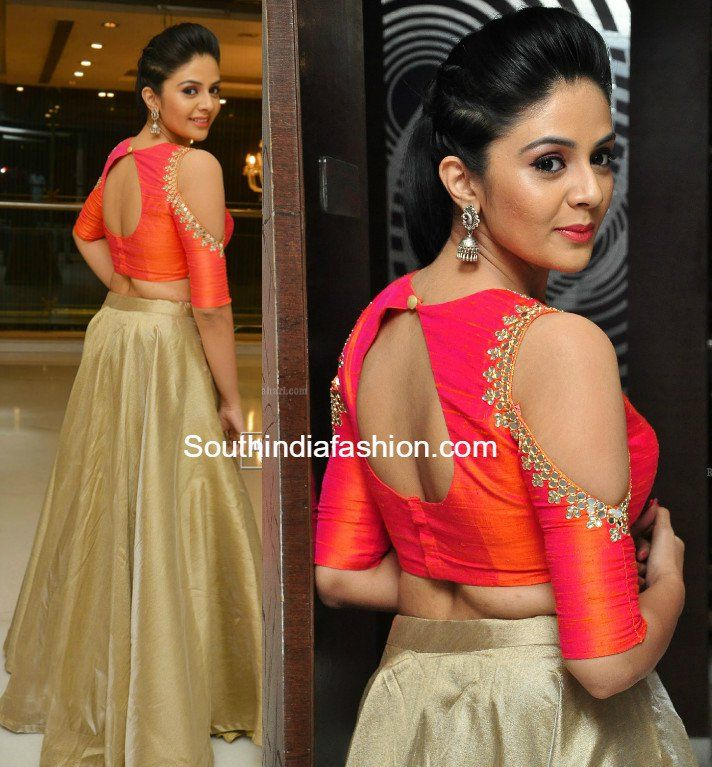 Sreemukhi in a long skirt and crop top photo | Anarkalis ...