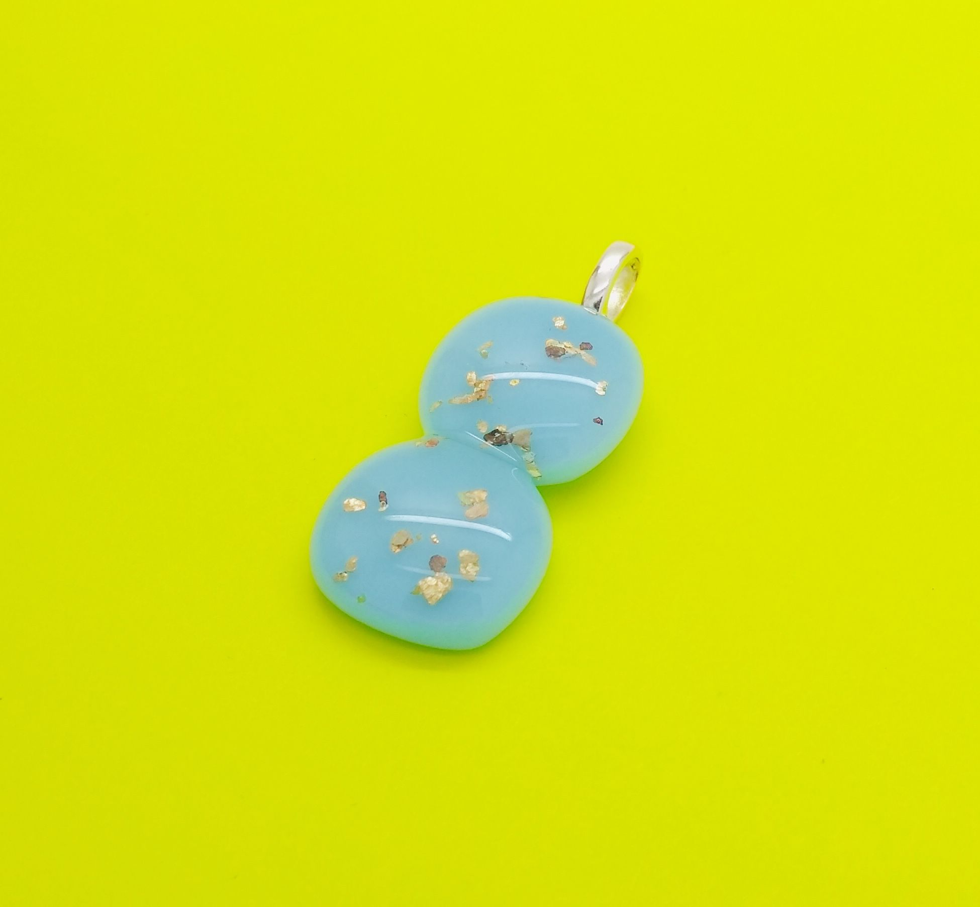 Photo of Baby blue glass and gold double drop necklace pendant