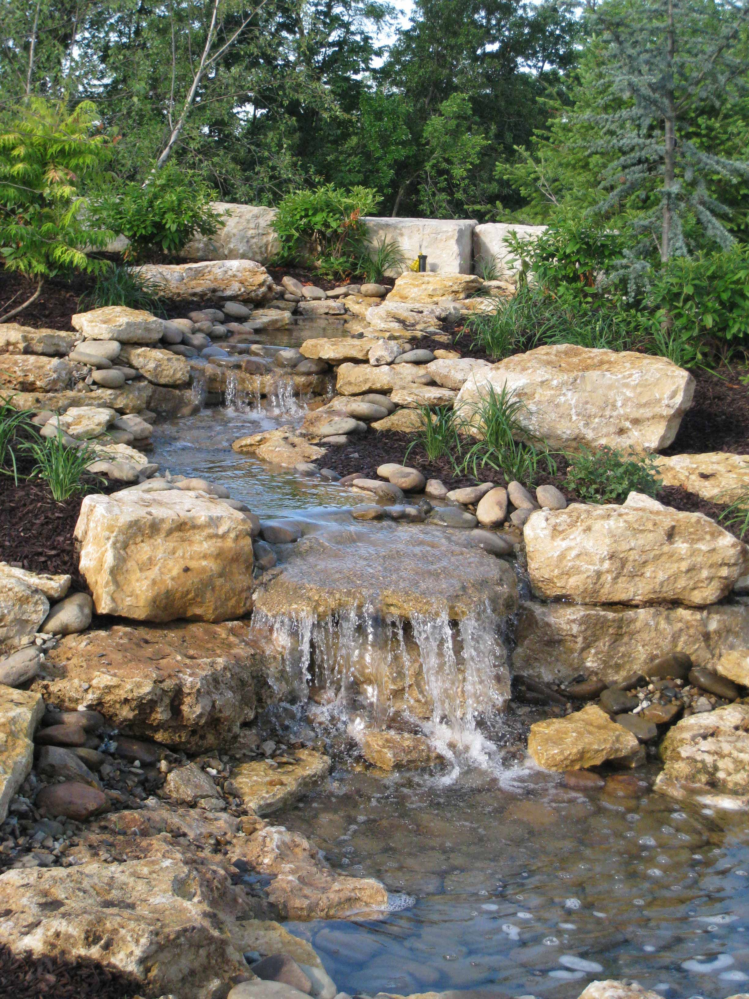 Enclave water feature water falls pinterest pond for Rock waterfall pond