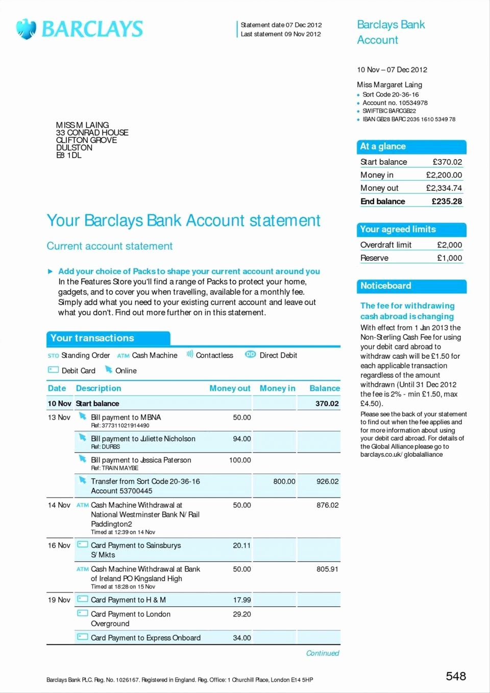 Pin on Bank Statement