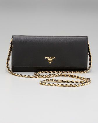 de28155d61ef Prada Saffiano Chain Crossbody Wallet | Prada | Crossbody wallet ...