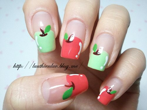 Teacher/Apple nails :)  Wouldn't this be cute on the 1st day of school?!