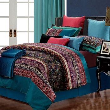blue red and purple thread count luxury egyptian cotton western style paisley park pop print full queen size bedding sets
