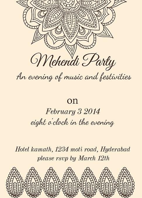 Mehndi Party Card : Mehndi invitation wording sister google search graphic