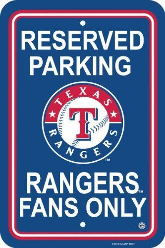 "MLB Texas Rangers Plastic Parking Sign by Fremont Die. $10.65. Printed with MLB team logos. Measures 12 by 18 inches. Officially licensed MLB product.. Made from plastic. Show your team spirit proudly with this MLB 12"" X 18"" Parking Sign. Each 12"" x 18"" parking sign is made of durable styrene. The officially licensed parking signs are decorated in the team colors, great for decorating home, office or dorm.. Save 69%!"