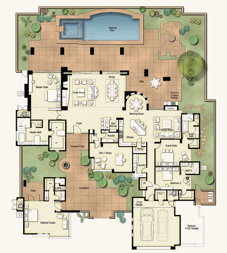 4100 Sq Ft Hacienda If You Re Looking For The Best Of Dove Mountain Homes The Hacienda Floor Plan Is It Floor Plans House Plans Courtyard House Plans