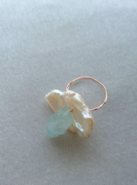 Aquamarine pearl and rose gold wire ring, rose gold and aquamarine ...