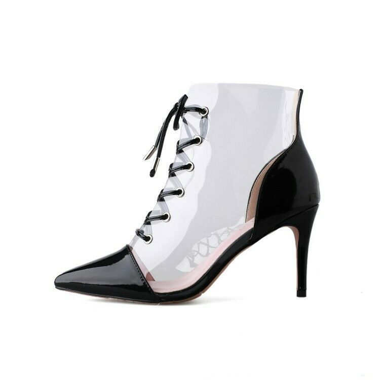 f757ebee1b0 Women Sexy Perspex Clear Sandals Boots Stilettos High Heels Transparent  Shoes Sz  fashion  clothing