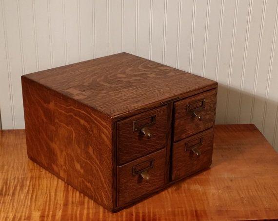 Antique oak library bureau sole makers card catalog vintage office
