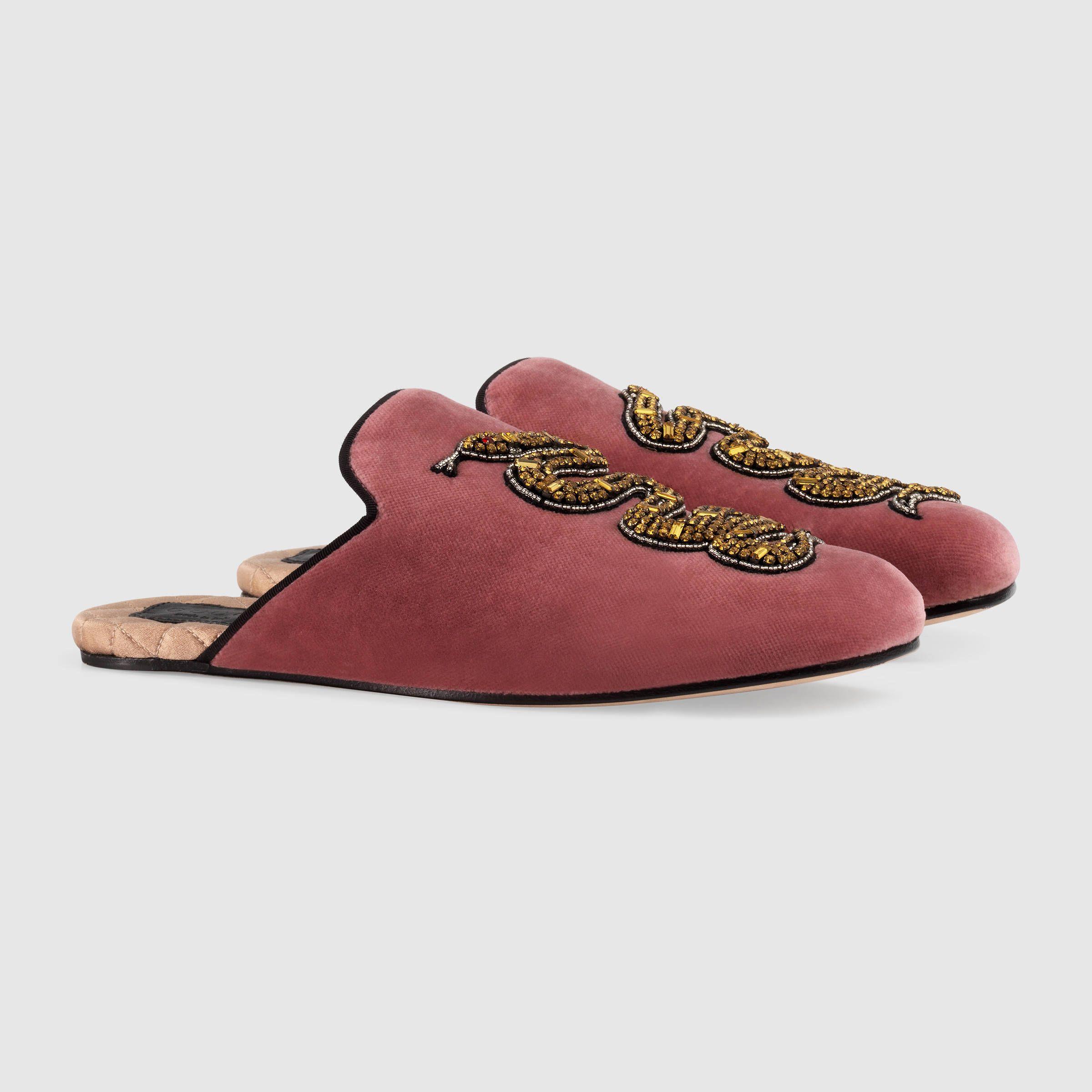 b769a0f1166 Velvet slipper with removable platform - Gucci Women s Slides  amp  Mules  470435FASN06474 Velvet Slippers