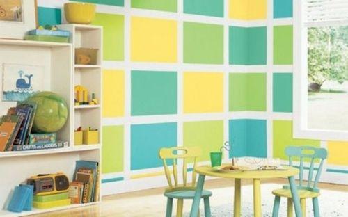 Modernes Kinderzimmer Wandgestaltung Blau Grün Gelb