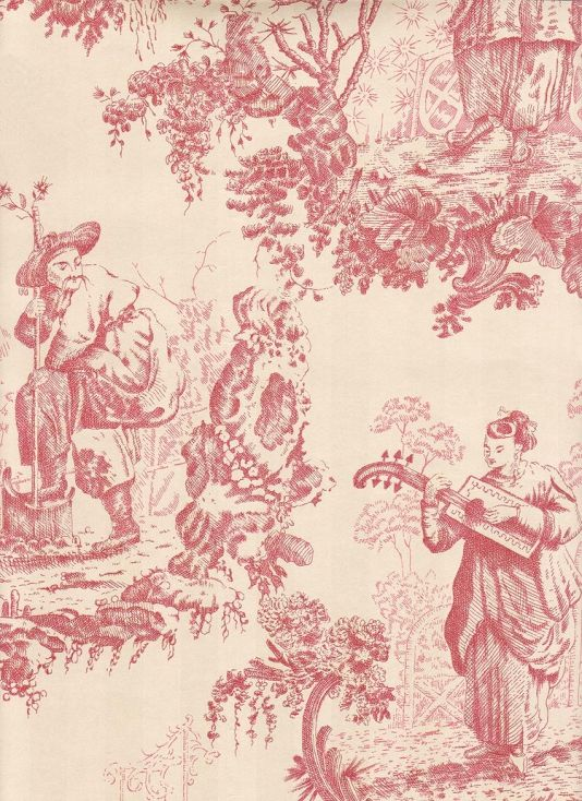 Tiny Toile de jouy Print Dollhouse Curtains 1:12 scale Blue on Cream