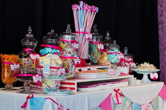 A circus themed wedding with an amazing candy table.