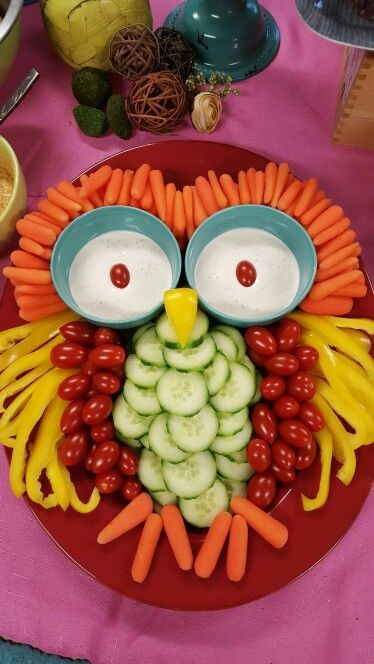 Owl vegetable tray. How funny. Food art with grape tomatoes, peppers, cucumbers and carrots shaping into an owl. You can do this! WHO?, lol, YOU!. Please also visit www.JustForYouPropheticArt.com for colorful inspirational Art. Thank you so much! Blessings!
