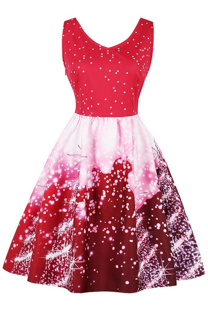 4a954ffcc2c Atomic Red  Christmas Tree Lights  Dress