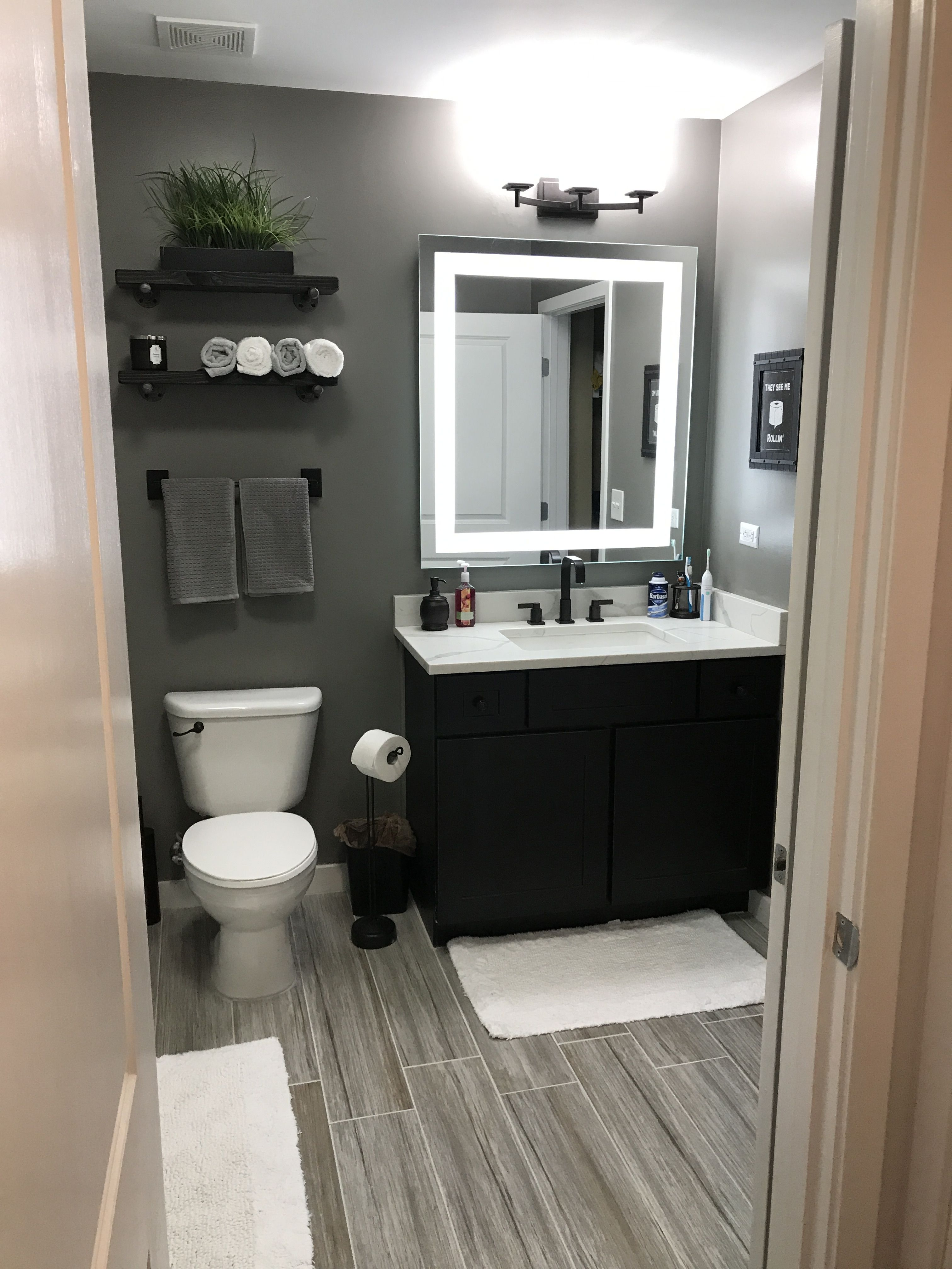 Grey bathroom / men's bathroom/ small / wood floor look ...