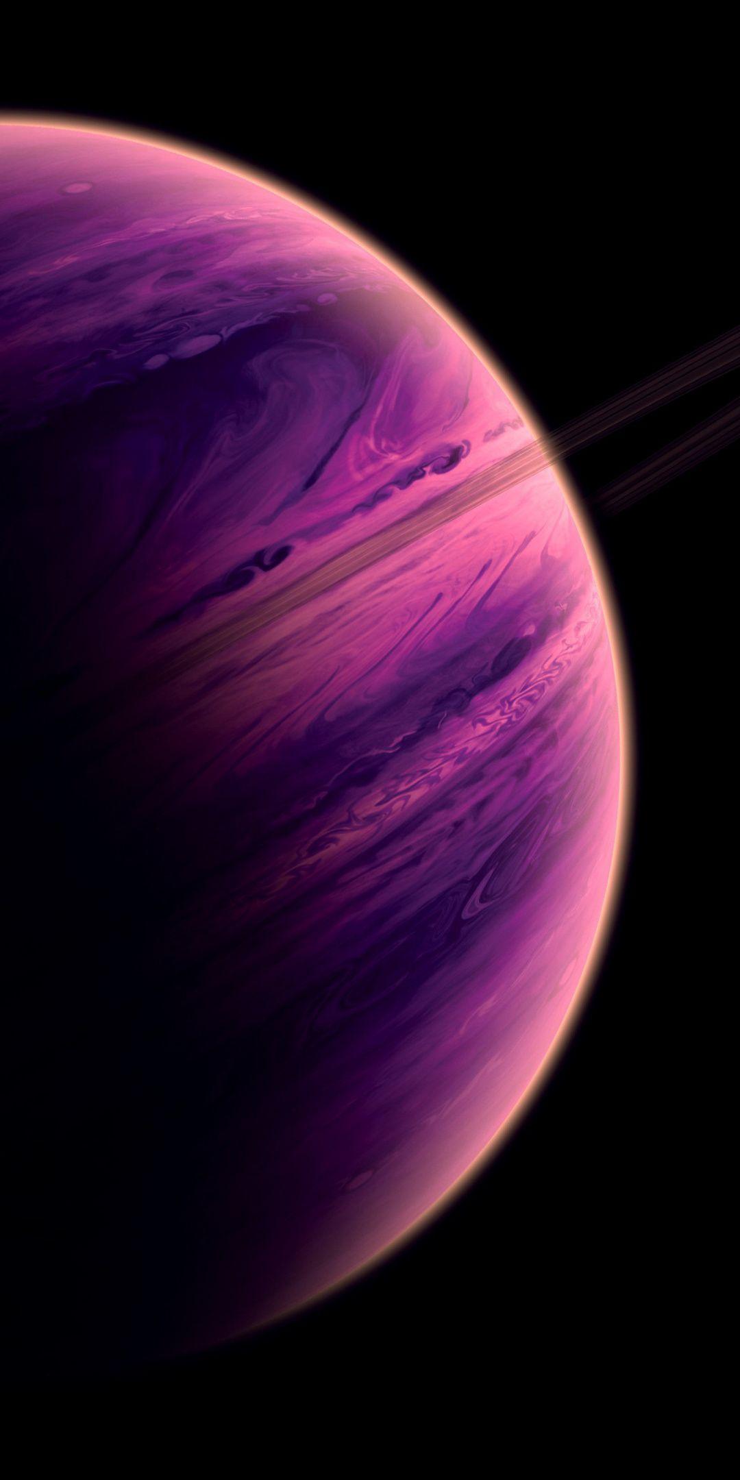 Planet purple, space, fantasy, art, 1080x2160 wallpaper