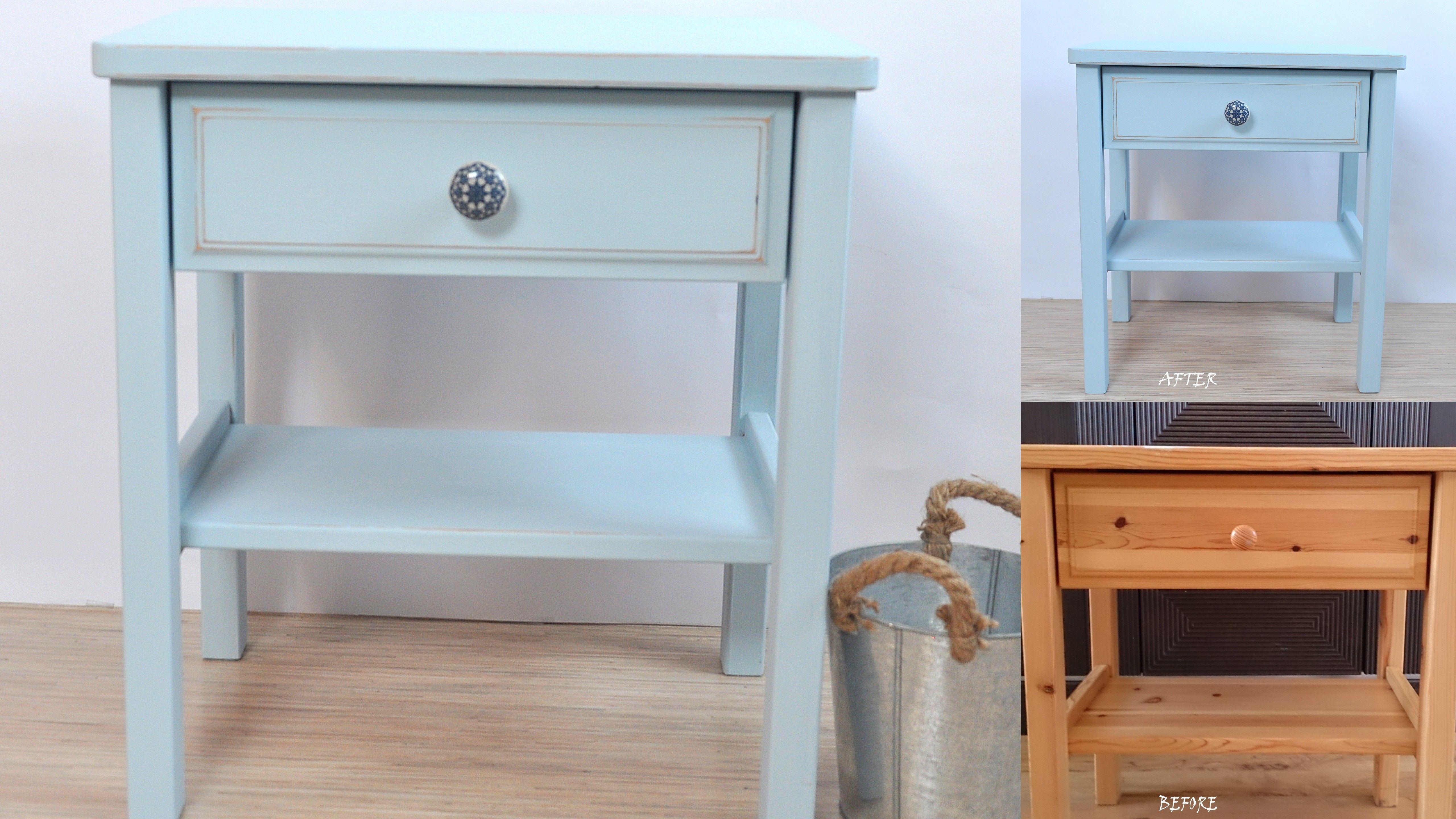 stoliczki nocne kolor polar blue before after autentico chalk paint pinterest. Black Bedroom Furniture Sets. Home Design Ideas
