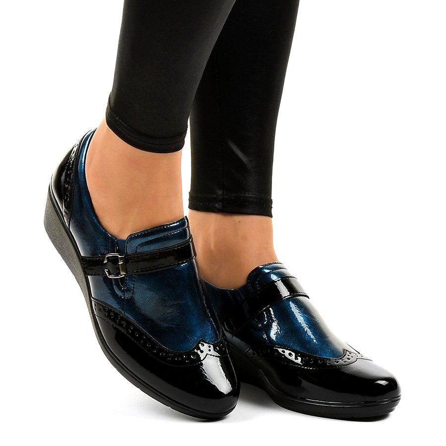 Czarne Polbuty Na Koturnie 7 9021 Granatowe Dress Shoes Men Loafers Men Oxford Shoes