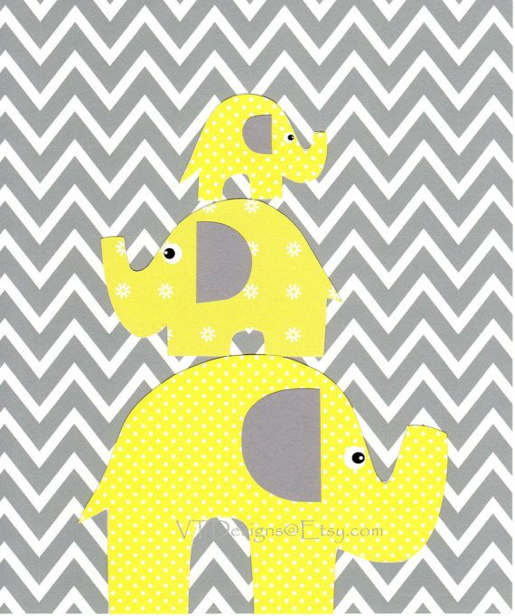 Elephant Twin Nursery Wall Art Nursery Room Decor For Twins: Pin On Yellow And Grey Nursery Decor