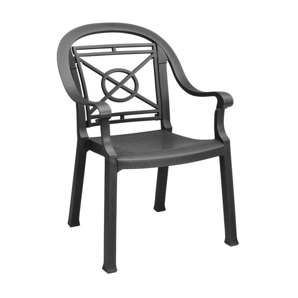 Grosfillex 46214002 us214002 victoria charcoal classic stacking resin armchair 425 31 dz