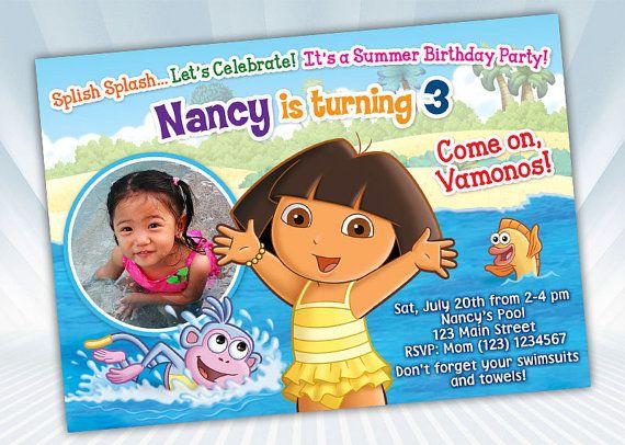 Dora Beach Summer Party Invitation Personalize By Digipartyshoppe