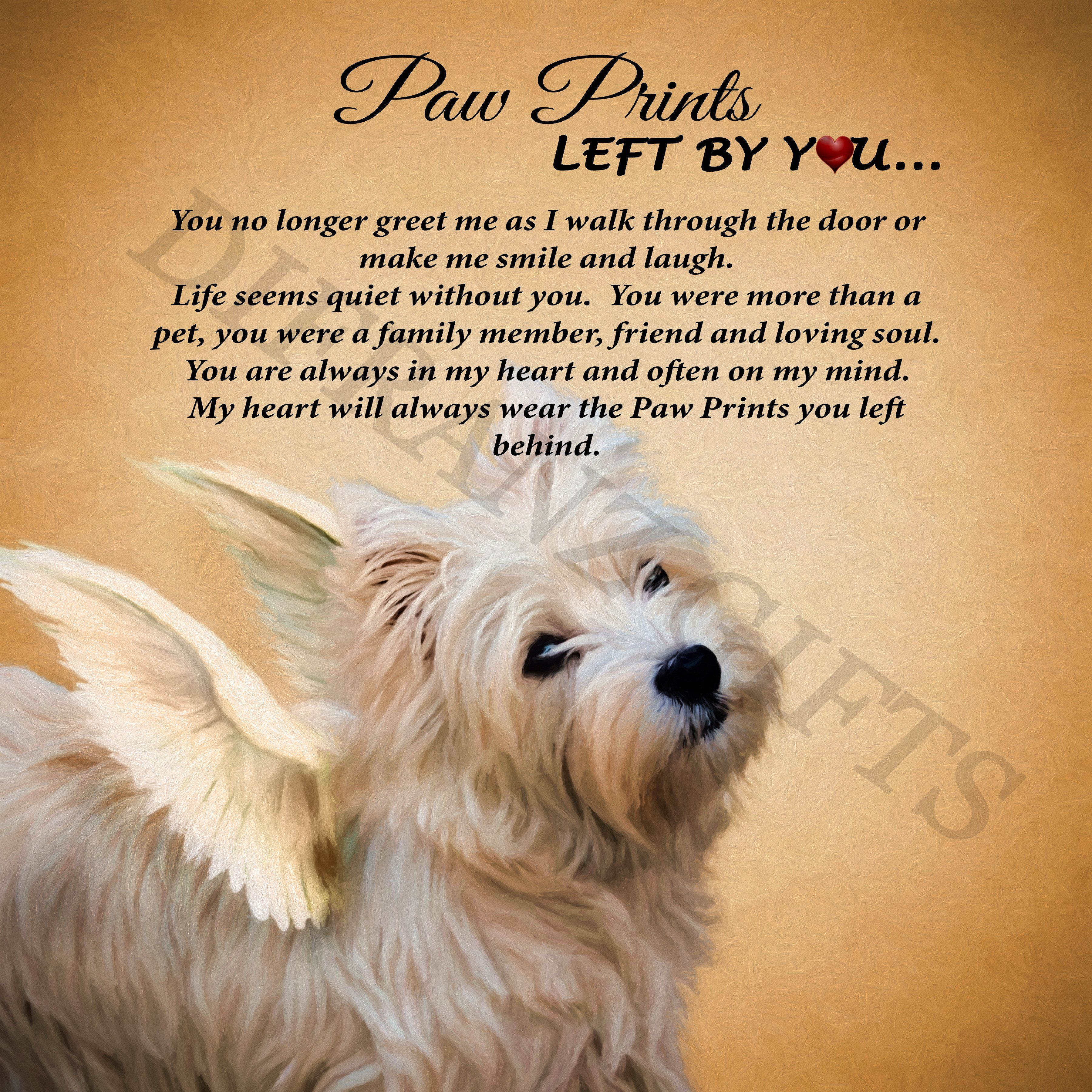 Dog Angel Quotes: Angel Paw Print Westie Plaque