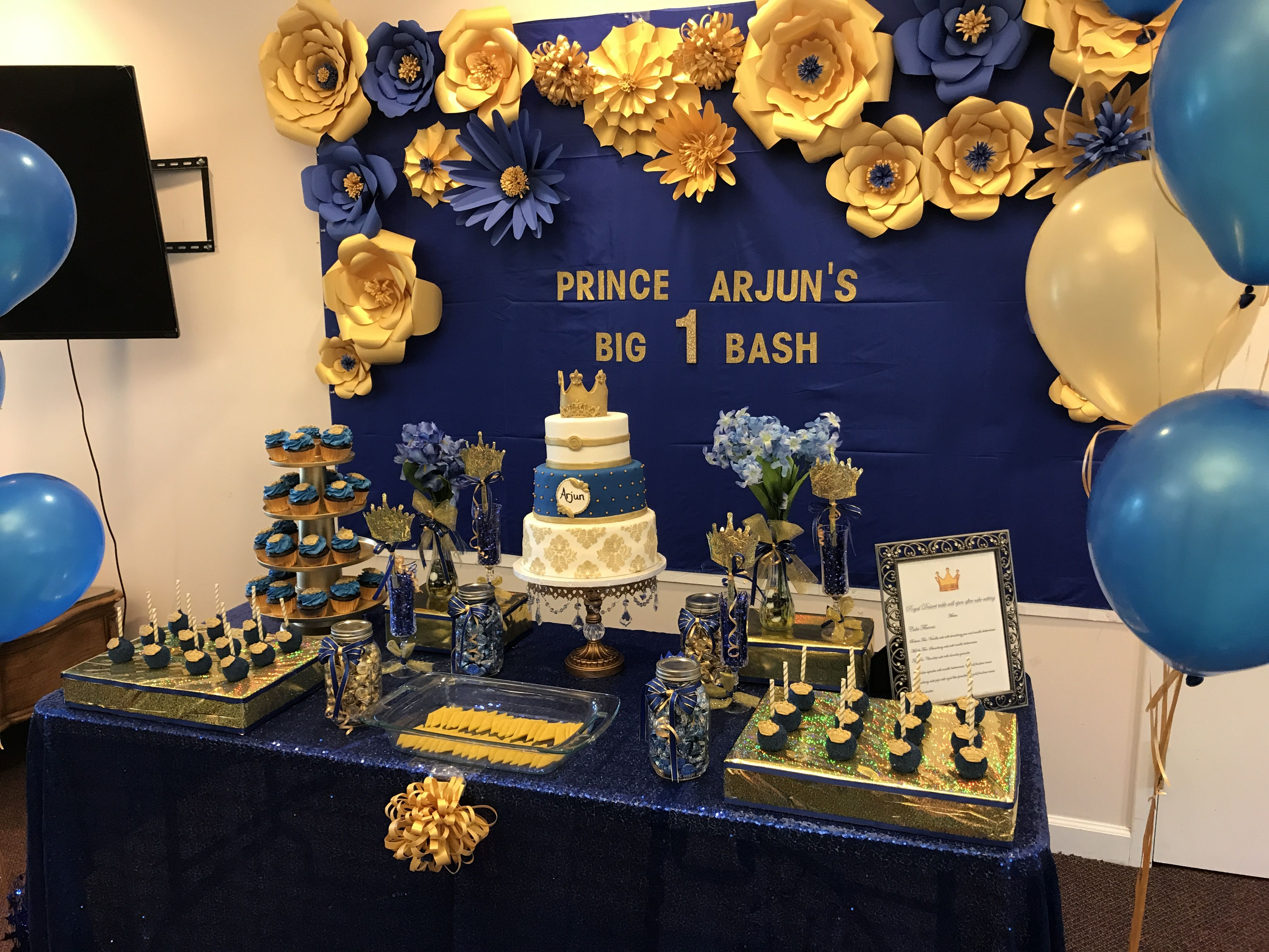 Paper Flowers Done With Royal Blue And Gold Cardstock Goes Well