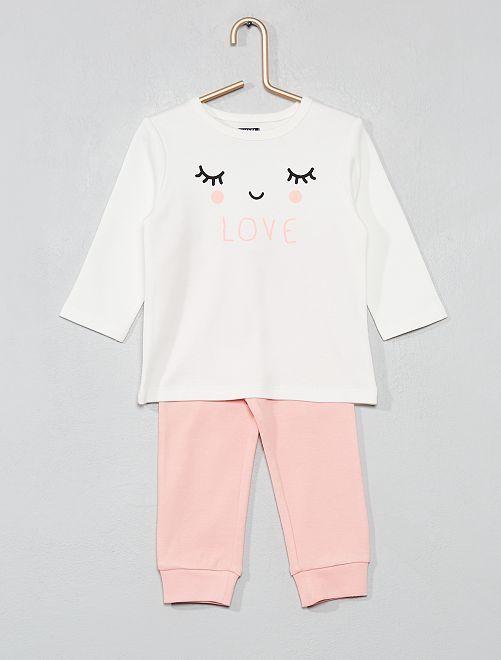 6f78f194f80a2 Pyjama long en coton bio ecru rose love Bébé fille - Kiabi