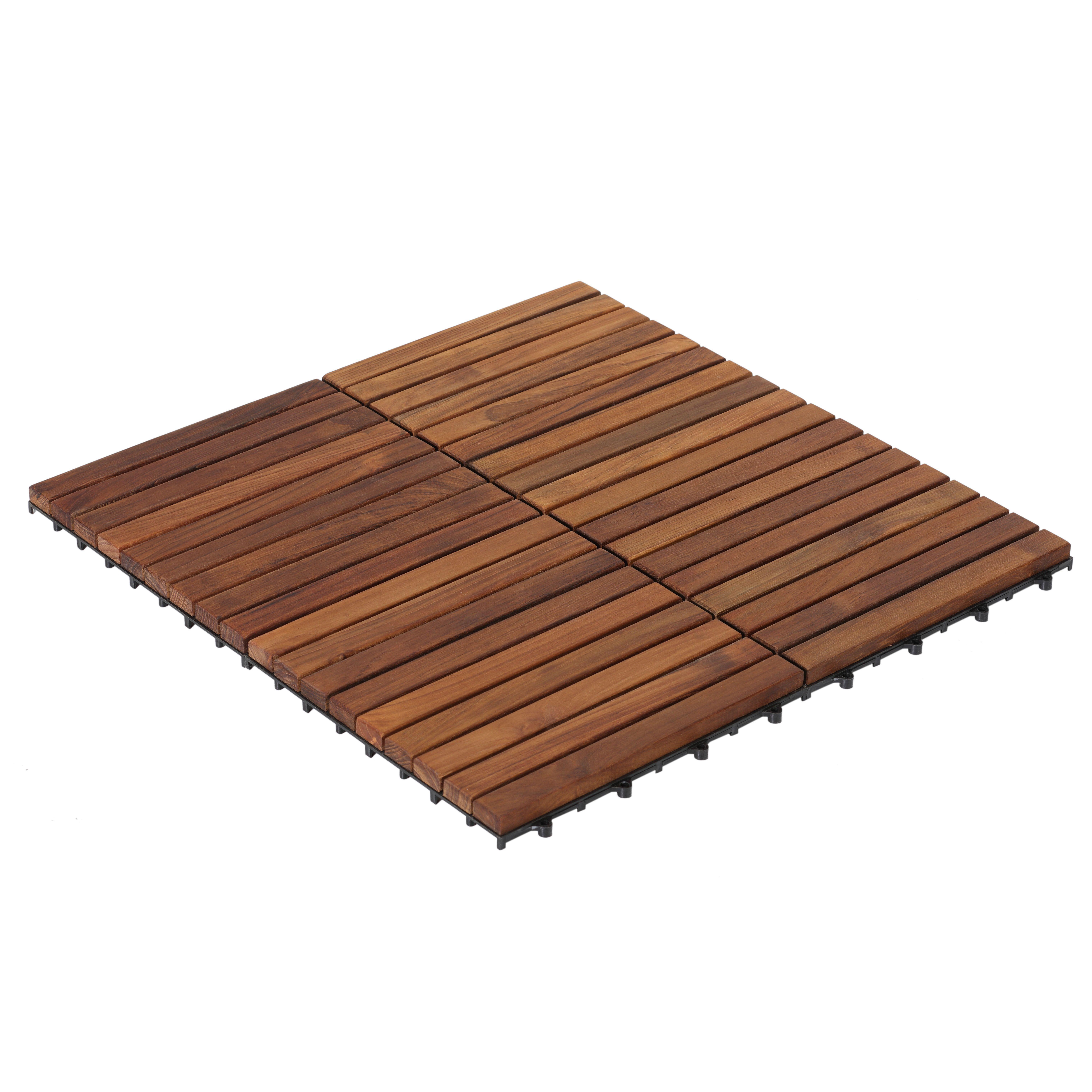 Ez Floor 12 X 12 Teak Wood Snap In Deck Tiles In Oiled Deck