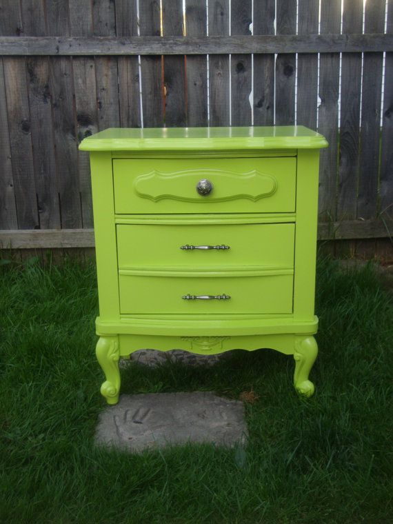 Lime Green Night Stand Side Table Refurbished By Smileblueeyes 100 00