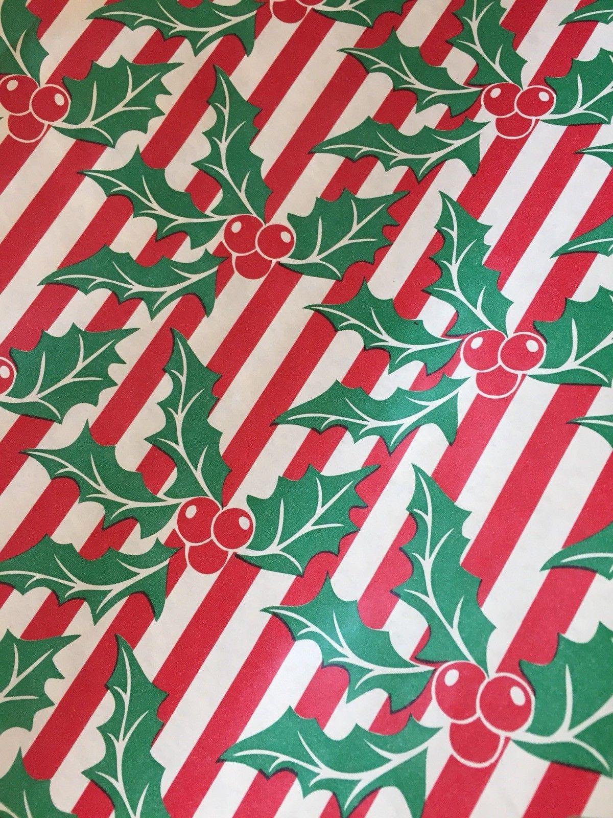 True 50 S Mcm Vintage Christmas Holly Stripe Gift Wrapping Paper Roll 3 Yards Ebay Xmas Wrapping Paper Gift Wrapping Paper Vintage Christmas
