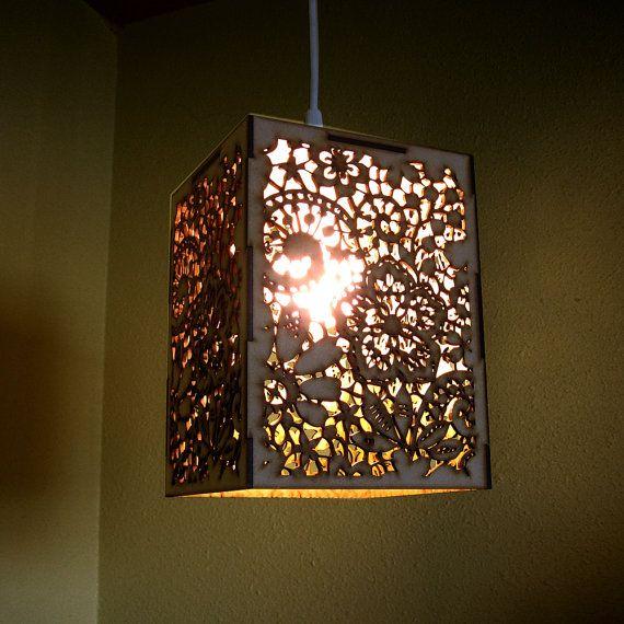 Wood Lace Pendant Light Hanging Lamp Laser Cut Floral Pattern - Laser lights for bedroom